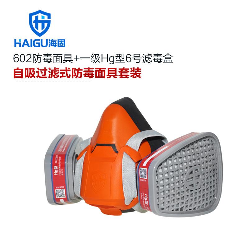 汞蒸汽防毒面具 海固602半面罩防毒面具+Hg型6号滤毒盒