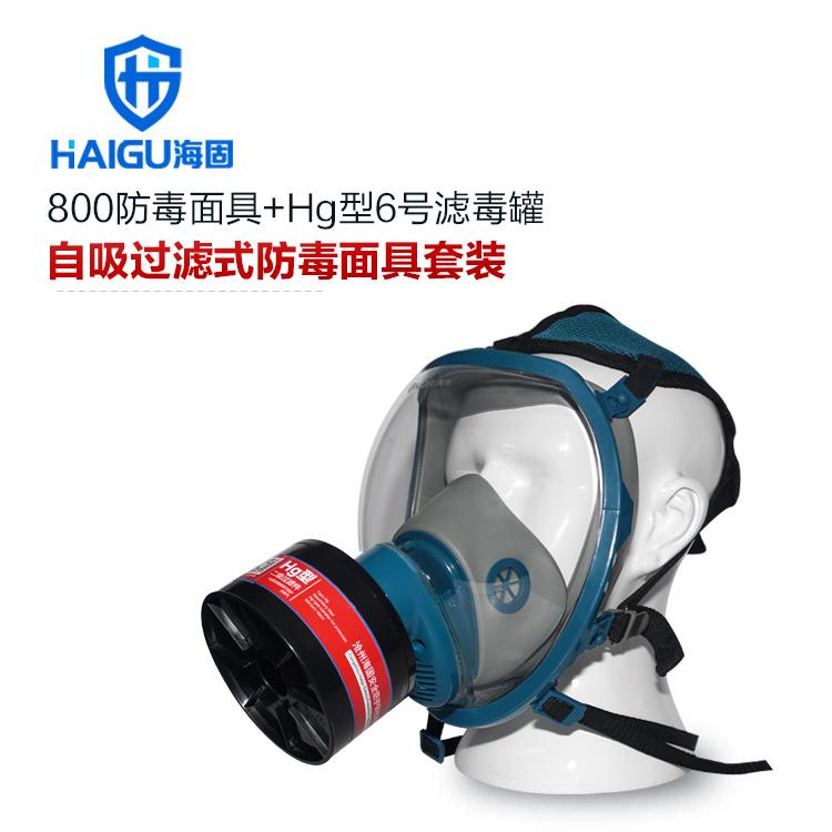 海固800全面罩+HG-ABS/P-Hg-2滤毒罐  水银防护专用防毒面具
