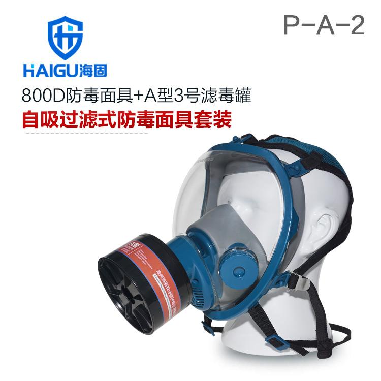 海固800D全面罩+HG-ABS/P-A-2滤毒罐 活性炭防毒面具 甲醛 醇类