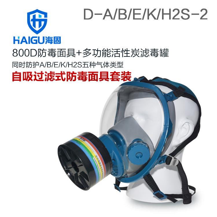 海固800D全面罩+HG-ABS/D1-2滤毒罐 综合防毒气 活性炭防毒面具
