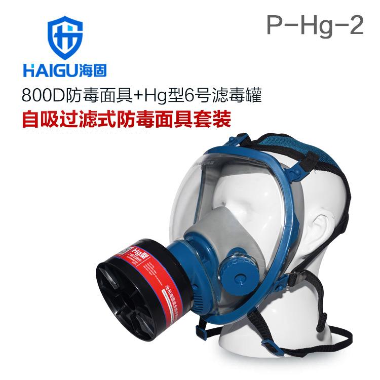 海固800D全面罩+HG-ABS/P-Hg-2滤毒罐  水银防护专用防毒面具